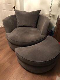 DFS snuggle chair and half moon pouffe