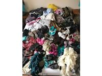 Huge lot of clothes, shoes, dvds, headboard, books, Wii Board, games, sodastream, etc