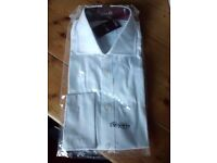 "White 100% cotton TM Lewin shirt 17"" Collar Slim Fit BNIB"