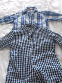2 x Boys checked shirts age 10 -11 excellent condition