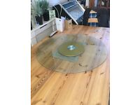 Glass table top Lazy Susan. 88cm wide. Tempered glass. New unused.