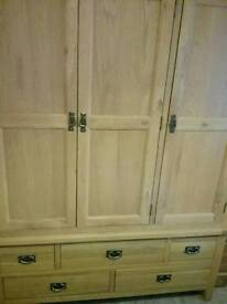 Triple door pine wardrobe