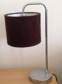 Pair of faux brown suede bedside lamps