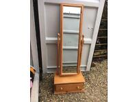 Solid pine freestanding mirror with drawer