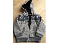 Super warm hooded cardigan/jacket, size 18m-2yrs