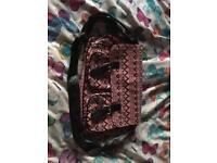 Pink multi part satchel bag