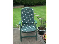 Strong Plastic Garden Chairs with cushions. Fold up for storage