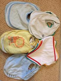 Baby boy Bibs, mittens, mocc ons bundle
