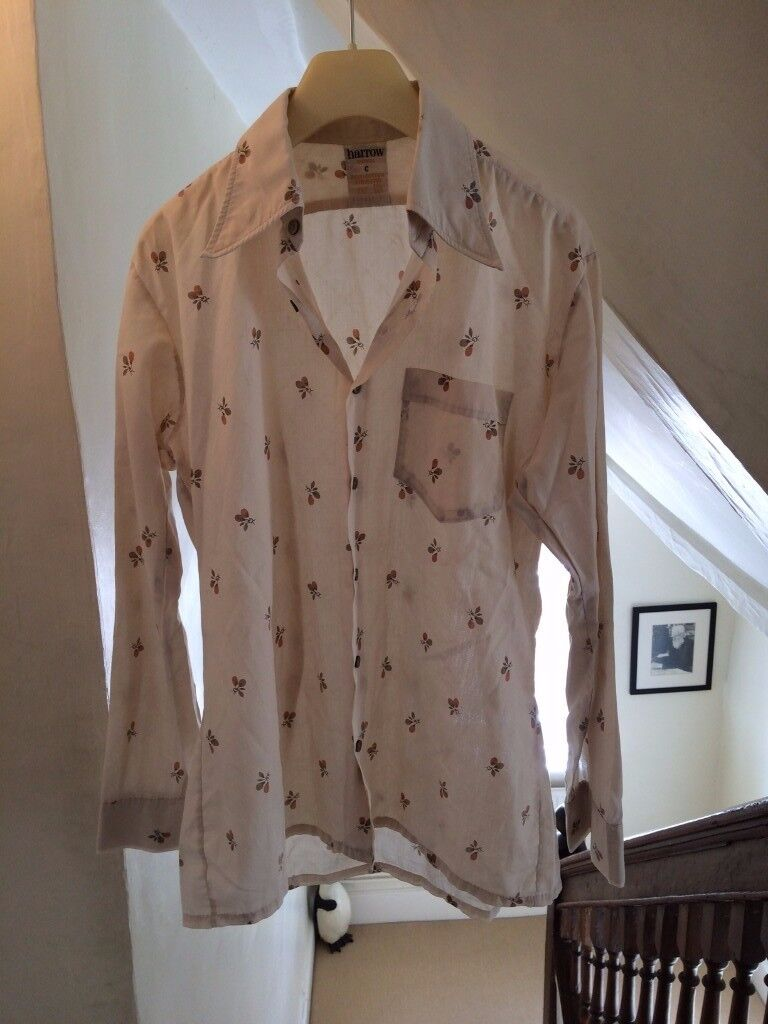 Mens Vintage Shirt / Small / Patterned