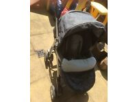 Silver cross carrycot & push travel system with parasol / footmuff / parasol/ raincover