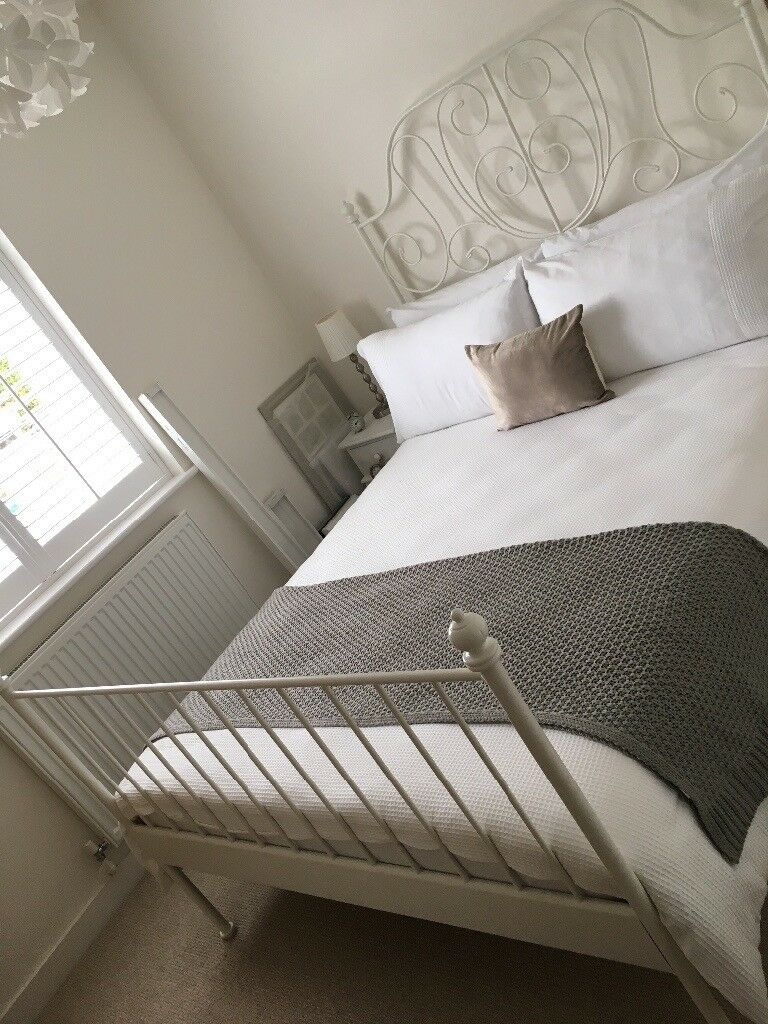 White Metal Ikea Double Bed & Mattress - AS NEW condition