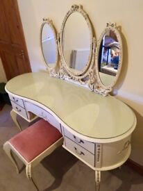 ** SOLD ** Vintage Cream Dressing Table & Stool