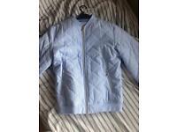 Mens zara blue, white and blue bomber jacket