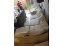 """Large white/cream """"leather"""" style sofa for sale"""