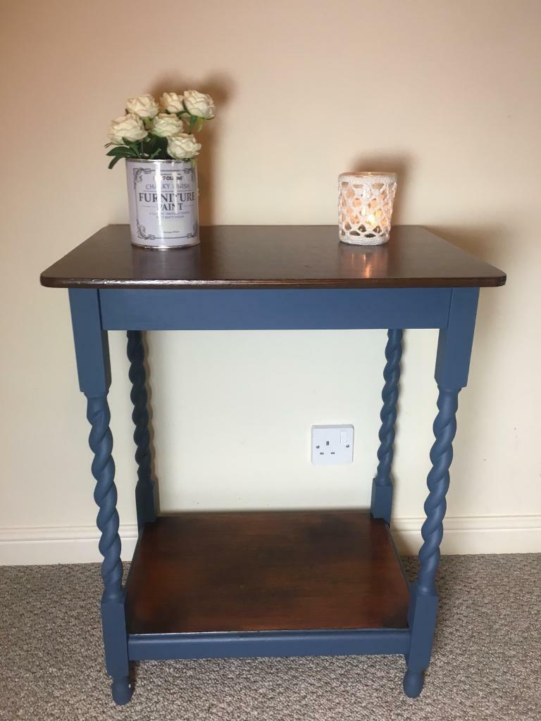 Wooden Side Coffee Table With Barley Twist Legs Shabby Chic Vintage Style