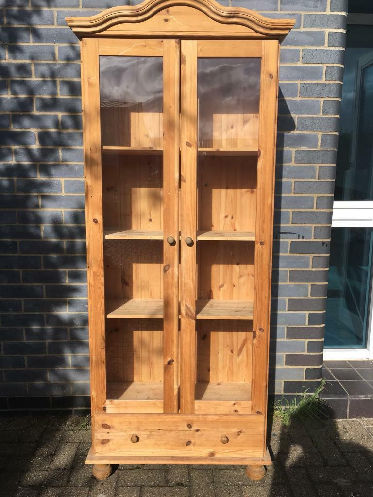 Pine shelving unit glass doors
