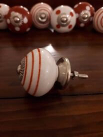 Ceramic Cupboard Knobs - Red/White