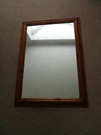 Solid Wood Mirror 34.5 x 25 inches (Antique Pine Effect)