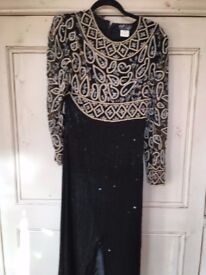 Black Beaded Full Length Indian Style Evening Dress