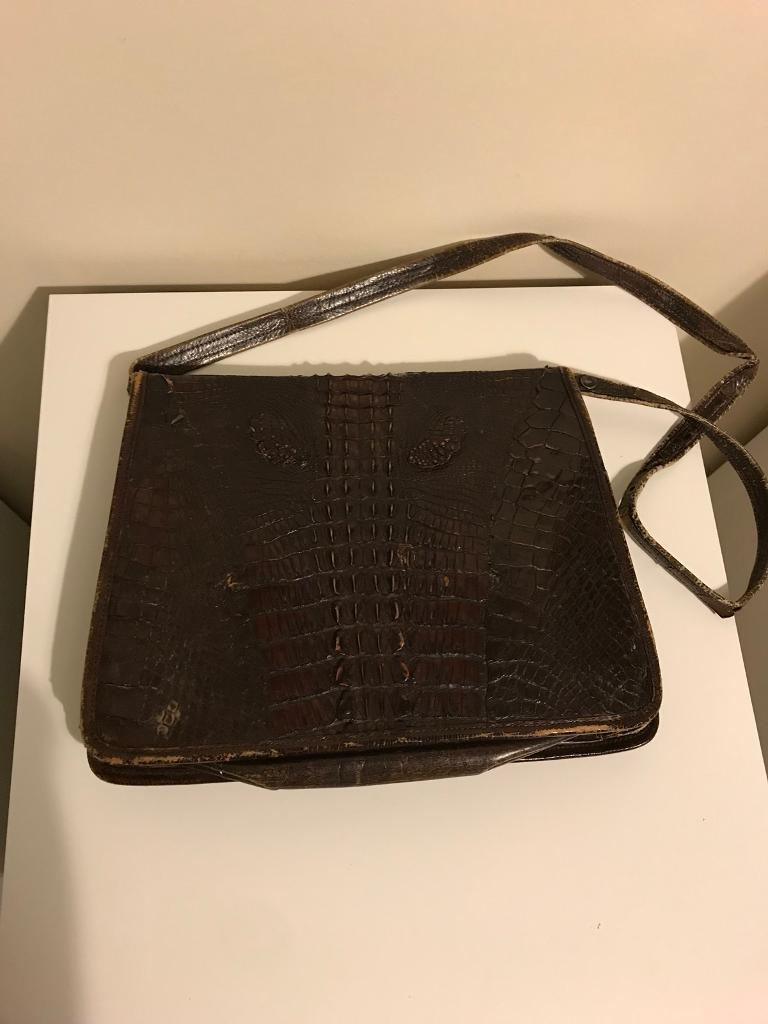 Real Leather Crocodile Handbag - Brown