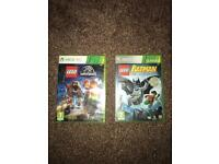 2 Lego games , Jurassic world / batman ( Xbox 360 )