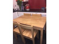 Wooden Dining Table & 4 Chairs