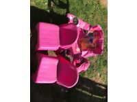 2 girls princess picnic chairs and 2 plastic chairs