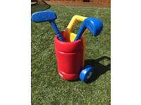 Little tikes golf trolley with two golf clubs