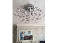 2 chrome and crystal ceiling lights matching standard lamp and table lamp