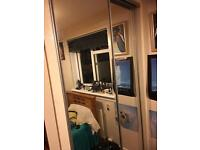 2 sliding mirrored wardrobe doors with track set