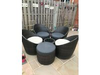 Rattan garden furniture egg chairs/table set
