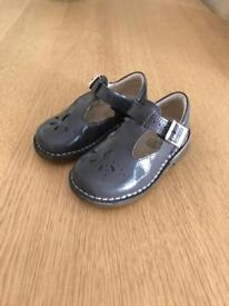 Girls Clark's grey patent shoes