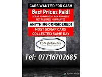 Scrap Cars WANTED, Best Prices Paid!