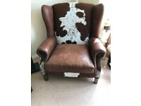 2 x Designer Large Leather/skin chair