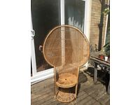 Vintage wicker retro peacock chair 70's 60's