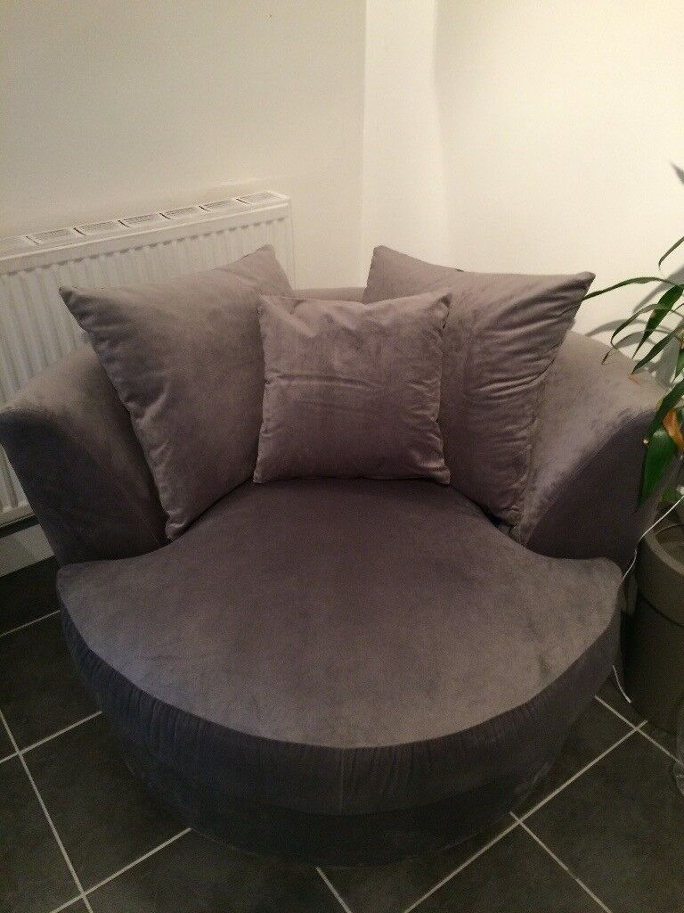 Fine Brand New Grey Velour Round Swivel Armchair Cuddle Chair In Plymouth Devon Gumtree Pabps2019 Chair Design Images Pabps2019Com