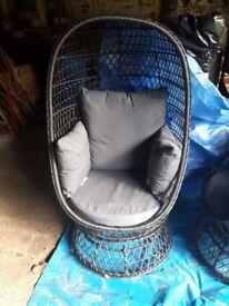 Anya Black Rattan Swivel Egg Chair