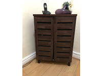 Argos HOME Slatted 2 Door Shoe Storage Cabinet - Mahogany Effect