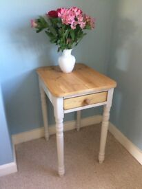 Sold pine console table / lamp table with drawer