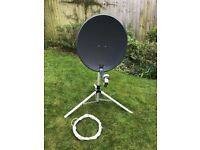 Portable satellite dish, tripod, receiver, all cables, remote control, instruction manual