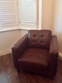 Brown real leather chair