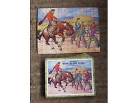 """Jig-saw – Wooden - Very old 16"""" X 11"""" """"Cowboy Rodeo"""""""