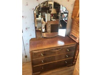Vintage Dressing Table , with 3 drawers for storage . Lovely carved detail , original handles .