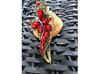 Red butterfly design crystal hair clip