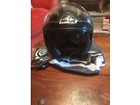 Box Moped / Motorcycle Large Open Face Helmet with Visor and In-Built Sunglasses - No Accidents