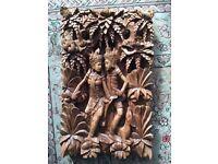 Antique vintage wooden Indian God