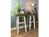 Solid wood Jacobean and Cream end / side / plant tables