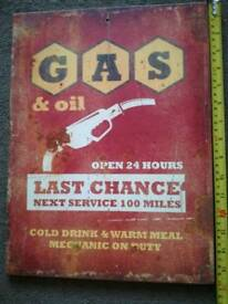 "Retro ""last chance GAS"" garage sign"