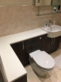 New bathroom worktop, 1500 slimline solid surface worktop crystal stone white.