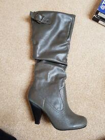 Womens grey knee high boots